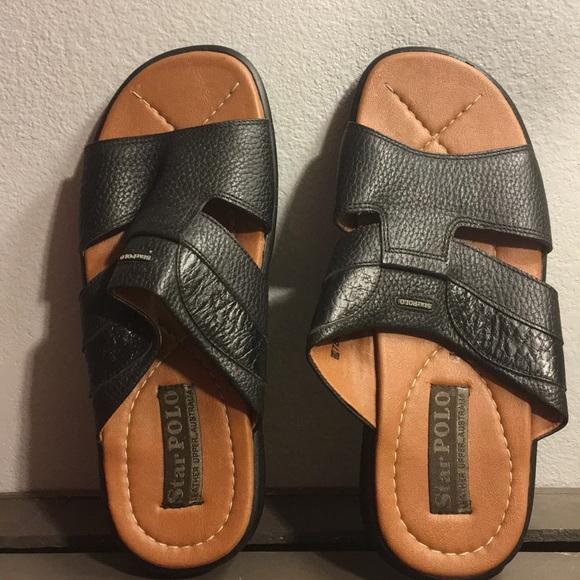 31db757821dc Star Polo Men s Black Leather Sandals Sz42 or 9. M 5bfbededa31c33fef7fe50cf